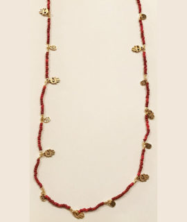 Bali Antique Gold and Red Coral Beaded Necklace